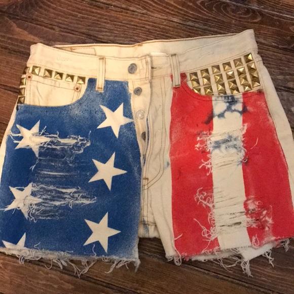 f9dad68224 Shorts | Handmade American Flag Distressed | Poshmark